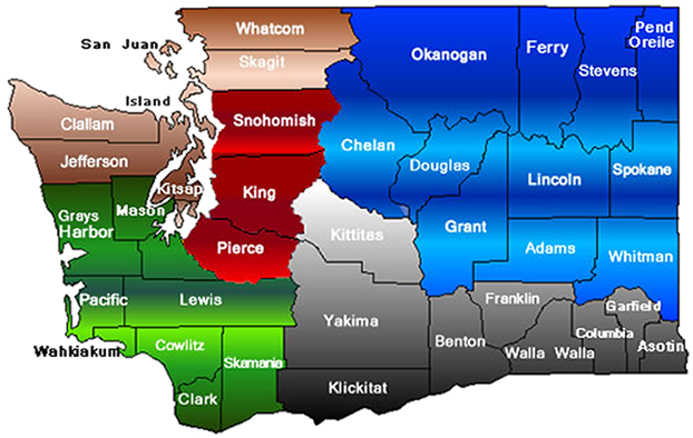Washington County map depicting RAP Regions